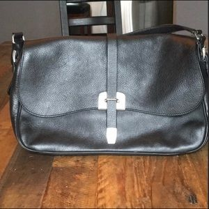 Auth Prada bag black leather silver hardware VGUC